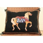 Horse Handmade Vintage Antique Needlepoint 20K Petit Point Pillow Sham
